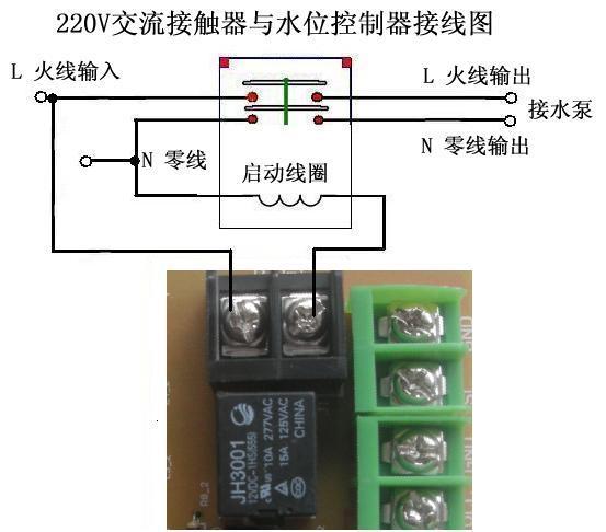 本公司所有的水位控制器最终输出的是一个不带电压输出的开关,即在继电器旁的两个接线柱。正确的接法在把交流接触器的初级绕组与这两个接线柱串联。具体的接法是:把市电的火线接到控制器继电器旁接线柱的一端,接线柱另一端接交流接触器初级绕组一端,然后交流接触器初级绕组的另一端接市电的零线 若水泵设备是三相380V的,如何与水位控制器连接?